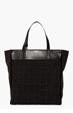 SAINT LAURENT Black Studded Suede North/South Tote for women