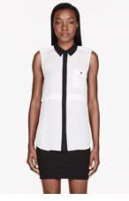 MARC BY MARC JACOBS Ivory & Black Georgette Horizon Blouse for women