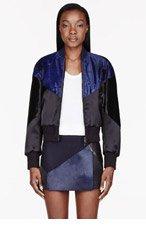 NEIL BARRETT Black & Blue calf-hair Mixed Modernist Bomber for women