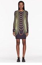 CHRISTOPHER KANE Black & Yellow Face Grid Bodycon dress for women