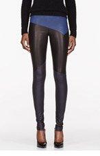 NEIL BARRETT Black & Blue Leather Modernist Leggings for women