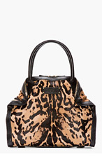 ALEXANDER MCQUEEN Tan Leopard Print Calf-Hair De Manta Tote for women