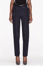 BURBERRY PRORSUM Deep navy Summer Barathea Luxury Paperbag Trousers for women