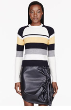 J.W.ANDERSON Yellow & Navy Cashmere Striped Raglan sweater for women