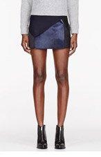 NEIL BARRETT Navy & Blakc Calf-hair patchworked New Miniskirt for women