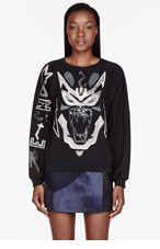 ANNE SOFIE MADSEN Black Stainless Steel Appliqu� Alcantara Sweatshirt for women