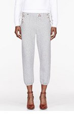 3.1 PHILLIP LIM Heather grey Crystal embroidered Boxing Sweatpants for women
