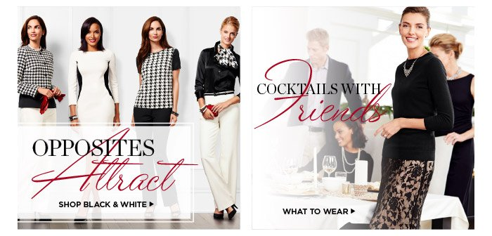 Opposites attract. Shop black and white. Cocktails with friends. What to Wear.