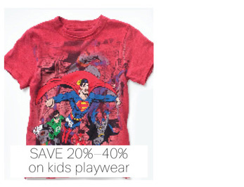 Save 20%-40% on kids playwear