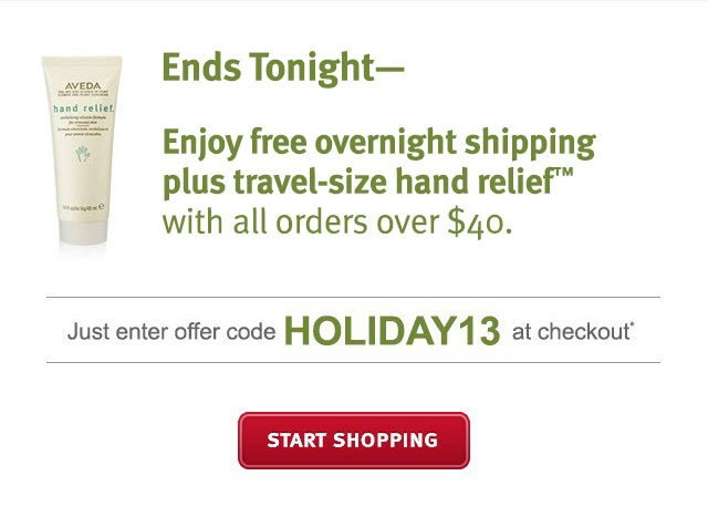 Ends Tonight— Enjoy Free Overnight Shipping plus travel-size  Hand Relief(TM) with all orders over $40. Use Code HOLIDAY13 at checkout.* SHOP NOW >>