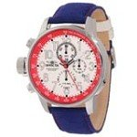 Invicta 12079 Men's I-Force Lefty White Dial Blue Fabric & Leather Strap Chronograph Watch