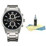 Orient TT12003B Men's SP Black Dial Stainless Steel Chronograph Watch with 30ml Ultimate Watch Cleaning Kit