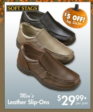 Leather Slip-Ons $29.99 per pair