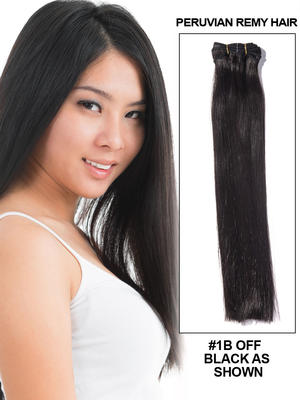 "14"" Silky Straight Best Peruvian Remy Hair Extension Weft - 1B"