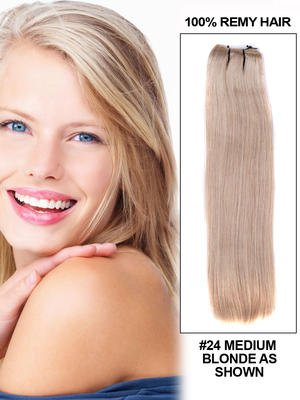 "16"" Silky Straight Best Peruvian Remy Hair Extension Weft - 24"
