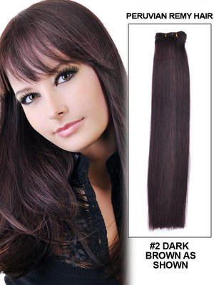 "14"" Silky Straight Best Peruvian Remy Hair Extension Weft - 2"