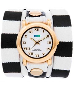 Black-White Stripe Print Simple Wrap Watch