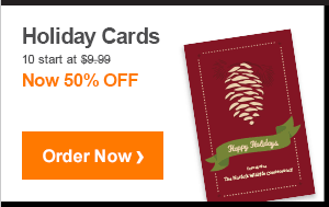 Holiday Cards 10 start at $9.99 Now 50% OFF Order Now