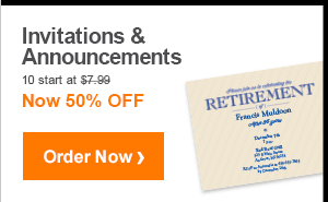 Invitations & Announcements 10 start at $7.99 Now 50% OFF Order Now