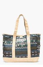 WHITE MOUNTAINEERING Teal Jacquard Wool Patterned Suede-Trimmed Tote for men