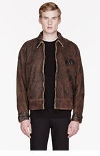 LEVIS VINTAGE CLOTHING Brown leather 1940s reversible jacket for men