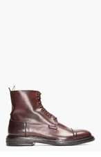 OFFICINE CREATIVE Burgundy Leather Bowling Boots for men