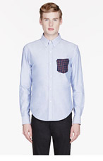 BAND OF OUTSIDERS Blue Chambray layered-pocket shirt for men