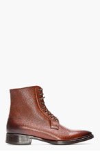 DSQUARED2 Tan Scotchgrain Leather Lace-Up Ankle Boots for men