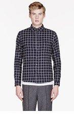 SASQUATCHFABRIX Black slub check shirt for men