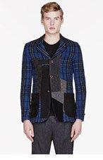 JUNYA WATANABE Blue & Grey patchwoek blazer for men