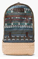 WHITE MOUNTAINEERING Teal Jacquard Patterned Wool Backpack for men