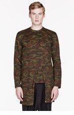 COMME DES GARÇONS HOMME PLUS Olive CAMOUFLAGE overlong sweater for men