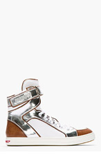 DSQUARED2 White Leather Metallic-Trimmed Sneakers for men