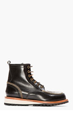 DSQUARED2 Black Leather Moccasin Stitched Lucida Boots for men