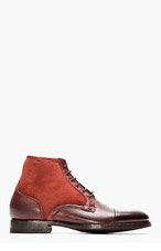 PAUL SMITH Burgundy Dip-Dyed Suede & Leather Boots for men