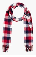 DSQUARED2 Red Check Wool Scarf for men
