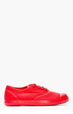 CHRISTIAN PEAU Red Canvas Low-Top Sneakers for men