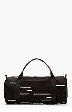 RICK OWENS DRKSHDW Black  & White Stitched Stripe Canvas Duffle Bag for men