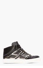 ALEJANDRO INGELMO Black Leather Gunmetal Mid-Top Tron sneakers for men