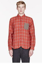 JUNYA WATANABE Pink plaid contrast-trimmed shirt for men