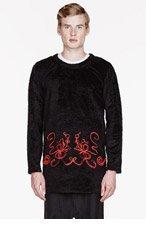 COMME DES GARÇONS HOMME PLUS Black fur embroidered sweater for men