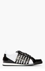 DSQUARED2 White & Black Chain Sneakers for men