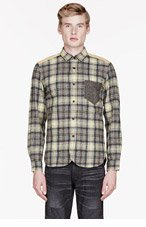 JUNYA WATANABE Grey & Yellow plaid contrast-trimmed shirt for men