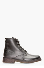 SURFACE TO AIR Black Leather Crepe Sole Lace-Up Boots for men