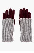 MAISON MARTIN MARGIELA Burgundy & Grey Ribbed Layered Gloves for men