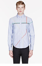 BAND OF OUTSIDERS Blue Chambray London Subway embroidered shirt for men