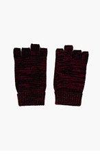 WINGS + HORNS Burgundy Marled Knit Smoker's Gloves for men