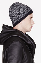 WHITE MOUNTAINEERING Navy & Grey CATSEYE PATTERN KNIT beanie for men