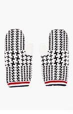 THOM BROWNE White & Black Wool Glen Plaid Mittens for men