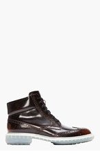ALEJANDRO INGELMO Burgundy Ombre Leather Wooster Wingtip Brogue Boots for men